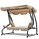 Outdoor 3 Persons Patio Porch Swing Chair Hammock Bench Adjustable Canopy Loveseat Convertible Bed Comfortable Seat Cushions Solid Steel Frame Construction Patio Yard Backyard Garden Pool Side Use