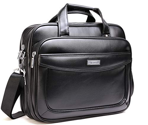 Leather Laptop Briefcase 16 inch,BOLO ARES Water Resistant Large & Expandable Shoulder Bag Business Handbag Messenger Bag for 15.6 inch Laptop (BLC1-Black)