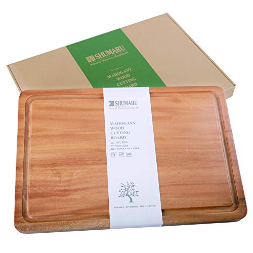 MAHOGANY Large Thick Wood Cutting Board with Juice Drip Groove 17.5x11.8x1.1' (Gift Box Included) | One-Piece Wooden Chopping & Carving Butcher Block Countertop | Cheese Board with HANDLE