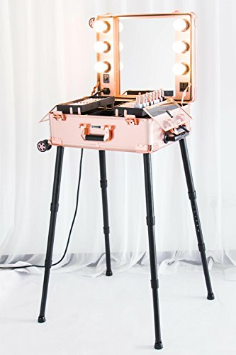 Kemier Makeup Case,Professional Artist Studio Cosmetic Train Table w/4 Rolling Wheels & Lights & Mirror,Pro Makeup Station,Cover Board and Easy Clean Extendable Trays,Adjustable Legs,Sturdy(Rose Gold)