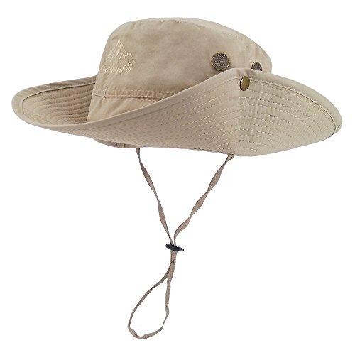 LETHMIK Outdoor Waterproof Boonie Hat Wide Brim Breathable Hunting Fishing Safari Sun Hat Beige