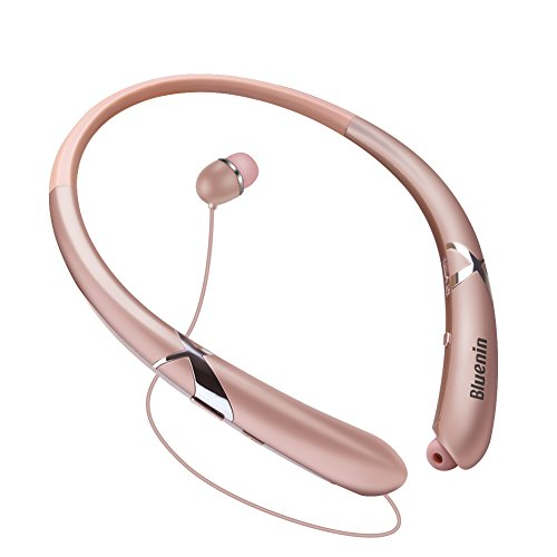 Bluetooth Headphones Retractable Earbuds Neckband Wireless Headset Sports Sweatproof Earphones with Mic (Bluetooth 4.1,Noise Cancelling , 14 Hours Play Time) (Rosegold)