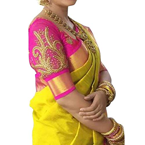 Saree(Saree For Women Party Wear Half Sarees Offer Designer Below 500 Rupees Latest Design Under 300 Combo Art Silk New Collection 2021 In Latest With Designer Blouse Beautiful For Women Party Wear Sadi Offer Sarees Collection Kanchipuram Bollywood Bhagalpuri Embroidered Free Size Georgette Sari Mirror Work Marriage Wear Replica Sarees Wedding Casual Design Blouse)(nn -pink work) TODAY OFFER ON AMAZON