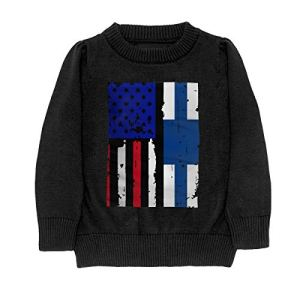 HJKNF58Q Finland American USA Flag Pride Sweater Youth Kids Funny Crew Neck Pullover Sweatshirt