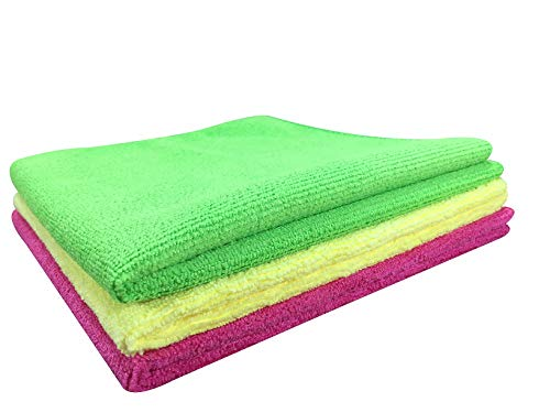 SOFTSPUN Premium Microfiber Cleaning Cloth for Car, Home & Kitchen - Automotive Drying Towel for Cleaning, 340 GSM - 40 X 40 CM, Multi-color - Pack of 3 17