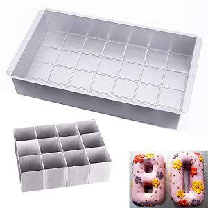 Aluminum Cake Tins, AOBETAK Rectangular Adjustable Cake Tin Set for Wedding Birthday Christmas Cake Cooking; Non-Stick Large Letters Alphabet Numbers DIY Baking Shapes, Silver, 12.5 inch * 7 inch 41LaNYhHjpL