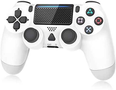 Controller for Playstation 4, Y Team Controller for PS4/ Pro/Slim, Game Controller Joystick with Vibration Function, Headset Jack, 6-axis Gyro Sensor/1000mAh Battery(White)