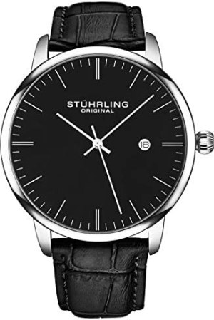 Stuhrling Original Mens Watch Calfskin Leather Strap – Dress + Casual Design – Analog Watch Dial with Date, 3997Z Watches for Men Collection | TellGrade