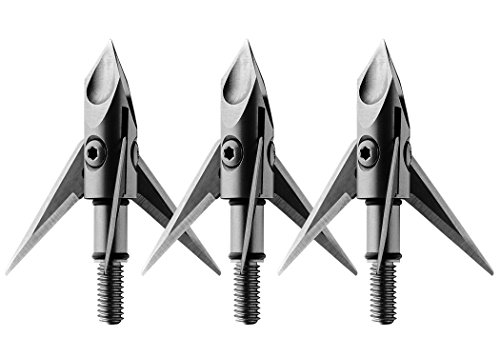 Ramcat Hydroshock Pivoting Broadheads - 125 Grain, Silver/Stainless Steel, Front & Rear Sharpened Blades - (3 Pack)