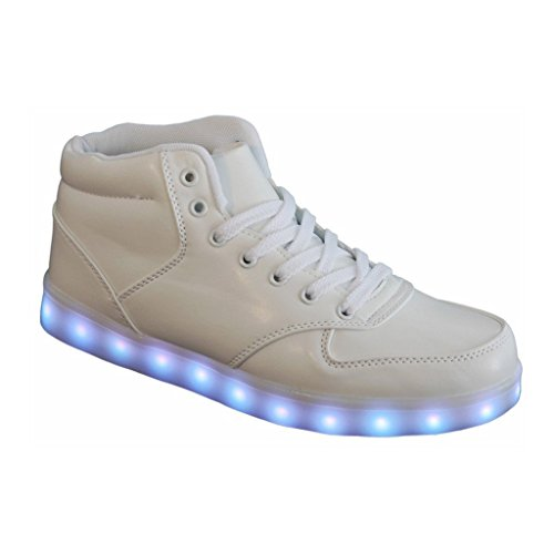 7 Colors USB Charging LED Lighted Luminous Couple Casual Sport Shoes Sneakers for Unisex Men Women White High-Top5.5 B(M) US Comfortable