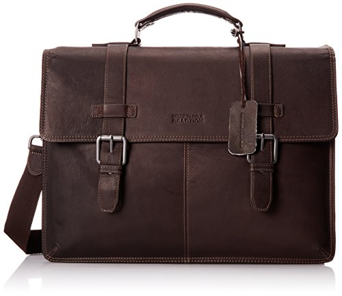Kenneth Cole Reaction Colombian Leather Dual Compartment Flapover 13' Laptop Business Portfolio, Brown