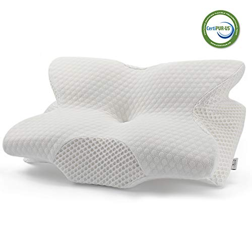 Coisum Back Sleeper Cervical Pillow - Memory Foam Pillow for Neck and Shoulder Pain Relief - Orthopedic Contour Ergonomic Pillow for Neck Support with Breathable Cover - CertiPUR-US