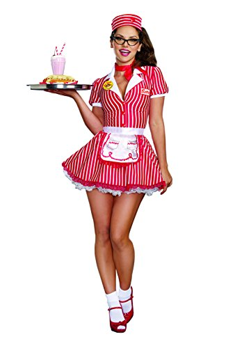 Dreamgirl Women's Sexy 50's 60's Retro Striped Burger Waitress Costume, Diner Doll, Red/White, Large
