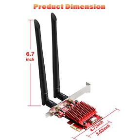 TEROW-WiFi-6-Card-3000Mbps-PCIE-WiFi-Card-Intel-AX200-Dual-Band-24G5G-Wireless-Network-Card-with-MU-MIMO-80211AX-Heat-Sink-Tech-Bluetooth-50-Support-Win-10-64bit-for-DesktopPC-Gaming