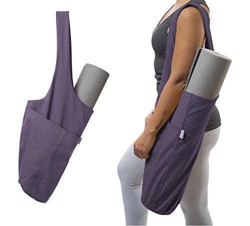 Yogiii Yoga Mat Bag | The Original YogiiiTote | Yoga Mat Tote Sling Carrier w/Large Side Pocket & Zipper Pocket | Fits Most Size Mats (Imperial Purple)