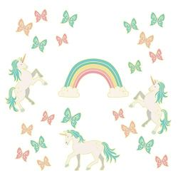 WallPops WPK3019 Enchanting Unicorns Glow in The Dark Wall Art Kit, Multicolor
