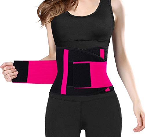 QEESMEI Waist Trainer Belt for Women & Man - Waist Cincher Trimmer Weight Loss Ab Belt - Slimming Body Shaper Belt(Hotpink,Large) 3