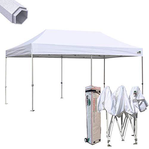 Eurmax Premium 10 x 20 EZ Pop up Canopy Tent Wedding Party Canopies Gazebo Shade Shelter Commercial Grade Bonus Wheeled Bag (White)