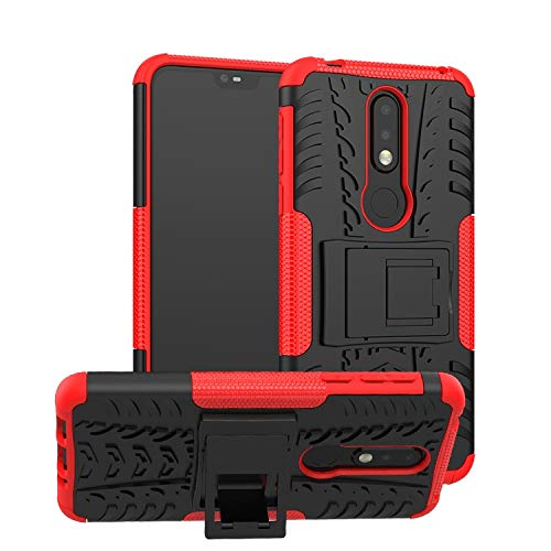 Soezit Military Graded Heavy Kickstand Back Phone case Rugged Shock Proof Anti-Wrestling Travel Essential Phone Accessories for Nokia 7.1 (Red) 1