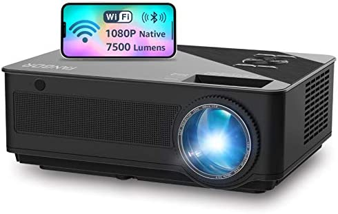 Native 1080P WiFi Projector, Full HD Video Projector, Bluetooth Projector, FANGOR 7500 Lumens/250 Display/ Contrast 8000: 1 Theater Movie Projector with Wireless Mirror to iPhone/Ipad/Android Phones