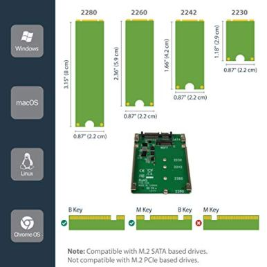 StarTechcom-M2-SSD-to-25in-SATA-Adapter-M2-NGFF-to-SATA-Converter-7mm-Open-Frame-Bracket-M2-Hard-Drive-Adapter-SAT32M225-Green