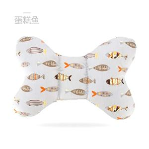 Baby Bed Supplies Four Seasons General autumn and winter children's cartoon stereotypes pillow shape cotton baby pillow newborn baby pillow anti-migraine Suitable for baby rest (Color : Cake fish) 41M Im3dsML