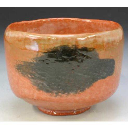 Kiyomizu-kyo yaki ware. Japanese Matcha chawan teabowl Aka raku Nue with wooden box. Ceramic. kymz-TSE734