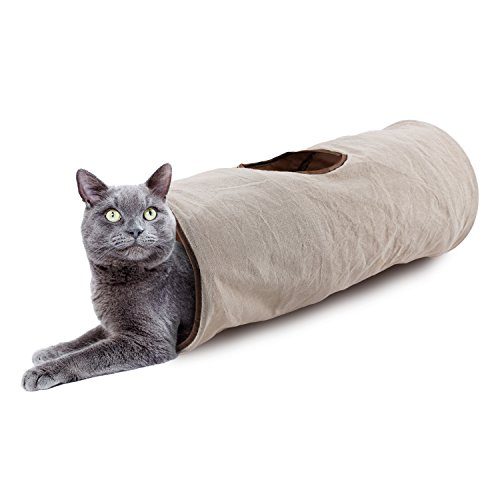 All for Paws Classic Comfort Crinkle Cat Tunnel with One Window, Collapsible, Easy to Clean, for Indoor Use, 24.5''X10''X10''