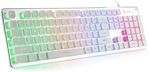 LANGTU Membrane Gaming Keyboard, Rainbow LED Backlit Quiet Keyboard for Office, USB Wired All-Metal Panel 25 Keys Anti-ghosting Computer Keyboard 104 Keys – L1 White/Silver