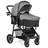 BABY JOY Baby Stroller, 2 in 1 Convertible Carriage Bassinet to Stroller, Pushchair with Foot Cover, Cup Holder, Large Storage Space, Wheels Suspension, 5-Point Harness (Gray)