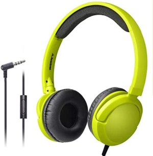 Avantree Superb Sound Wired On Ear Headphones with Microphone, 1.5M / 4.9FT Long Cord with Mic for Adults, Students, Kids, Comfortable Headset for PC Computer, Laptop, Tablet, Phone – 026 Yellow Green