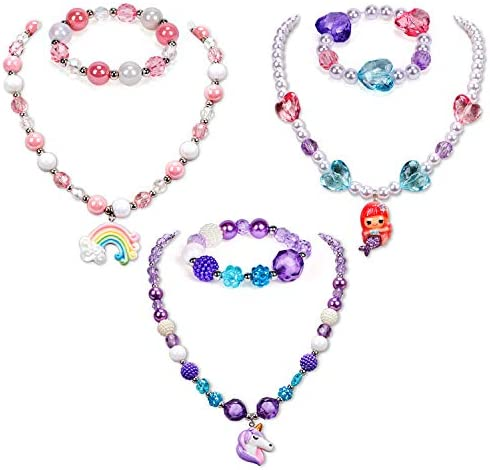 G.C 3 Sets Girl Princess Necklace Bracelet with Colorful Unicorn Mermaid Rainbow Pendant Kids Stretchy Chunky Costume Jewelry Gift Party Favors Dress up Jewelry for Little Girl Toddler(with Gift Box)