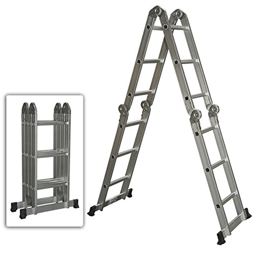 Best Choice Products Multi Purpose Aluminum Ladder Folding Step Ladder Extendable Heavy Duty