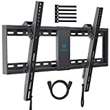 "PERLESMITH Tilt Low Profile TV Wall Mount Bracket for Most 32-70 inch LED, LCD, OLED and Plasma Flat Screen TVs - Fits 16""- 24"" Wood Studs, Tilting TV Mount with VESA 600 x 400mm Holds up to132lbs"
