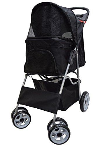 VIVO Four Wheel Pet Stroller, for Cat, Dog and More, Foldable Carrier Strolling Cart, Multiple Colors (Black)