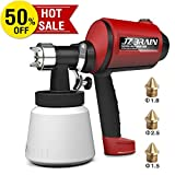 JZBRAIN Paint Sprayer, HVLP Electric Paint Spray Gun with Three Spray Patterns, Three Nozzle Sizes, High Power, ETL Certified, Easy Spraying and Cleaning