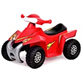 Costzon Kids Ride On Quad, 6V Battery Power Electric Car Vehicle, 4 Wheel Power Bicycle for Toddlers with Light (Red)