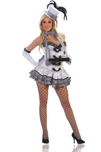 1940s Pin-up Girl Costumes - Starline Women's White Cigarette Girl Sexy Costume Set, White/Black, X-Large