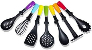 Nylon Kitchen Utensil Set 7 Pcs Cooking Heat Resistant Kitchen Gadgets Accessories Tools Set Nonstick Cookware Soup Spoon Slotted turner Potato Masher Pasta Server Colander Egg Beater