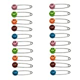 JMAF 20pcs Safety Pins Child Proof Safety Pin, Candy-Color- Smile Cute Baby Safe Pins,Plastic Head, for Fabric Diapers, Garment Repair