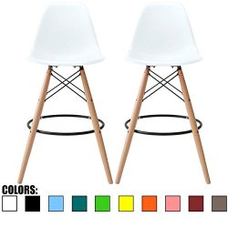 2xhome Set of 2 White 25″ Seat Height Stool Chair Style DSW Molded Plastic Bar Stool Modern Barstool Counter Stools with Back Armless Natural Legs Wood Eiffel Dowel Mid Century