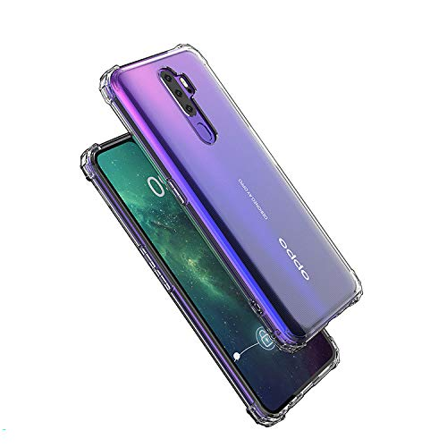 Casodon Plain Flexible Bump Side Air Cushion Back Cover for Oppo A9 2020 Dual Layer Transparent Ultra Clear Finish 3