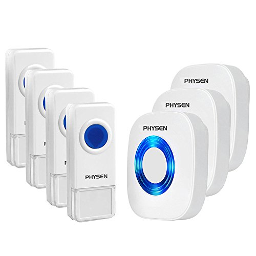 Physen Model CW Waterproof Wireless Doorbell kit with 4 Push Buttons and 3 Plugin Receivers,Operating at 1000 feet Long Range,4 Volume Levels and 52 Melodies Chimes,No Battery Required for Receiver