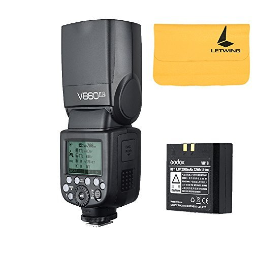 Godox V860II-N 2.4G TTL Li-on Battery Camera Flash Speedlite for Nikon D800 D700 D7100 D7000 D5200 D5100 D5000 D300 D300S D3200 D3100 D3000 D200 D70S D810 D610 D90 D750 (V860II-N)