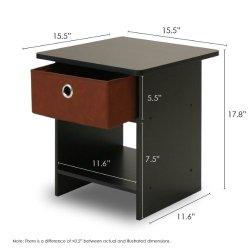 FURINNO Dario End Table/Night Stand Storage Shelf, 1-Pack, Espresso/Brown