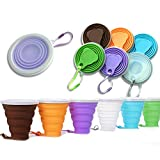 DARUNAXY Silicone Collapsible Travel Cup - 6 Pack Silicone Folding Camping Cup with Lids - Expandable Drinking Cup Set - BPA Free, Reuseable, Portable, Graduated [9.22oz] (Mix Color)