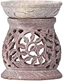 """SouvNear 3.5"""" Aromatherapy Oil Diffuser Warmer Burner Tealight Holder Hand-Carved White Soapstone for Fragrance - Home/Office/Bathroom/Mantel Decor - Housewarming Gifts"""