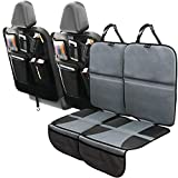 Car Seat Protector and Kick Mat Car Seat Cover (4 Pack) with Tablet Holder - 2 Sets of Car Seat Protectors and Kick Mat Backseat Organizers - Covers Great for Child & Baby Carseats, Dog Mats