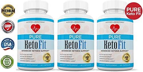 Pure Keto Fit Pills Advanced BHB Ketogenic Supplement Exogenous Ketones Ketosis for Men Women 60 Capsules 3 Bottles 4
