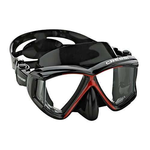 Cressi Panoramic 4 Window Dive Mask - Red / Black
